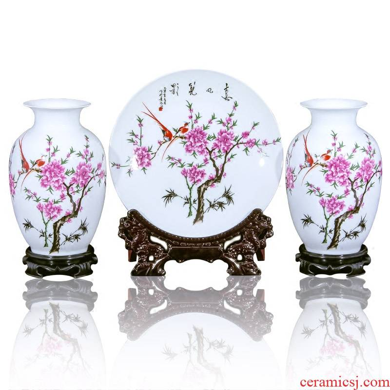 Jingdezhen ceramic vase furnishing articles flower arranging flower implement contracted sitting room new Chinese arts and crafts decorative vase three - piece suit