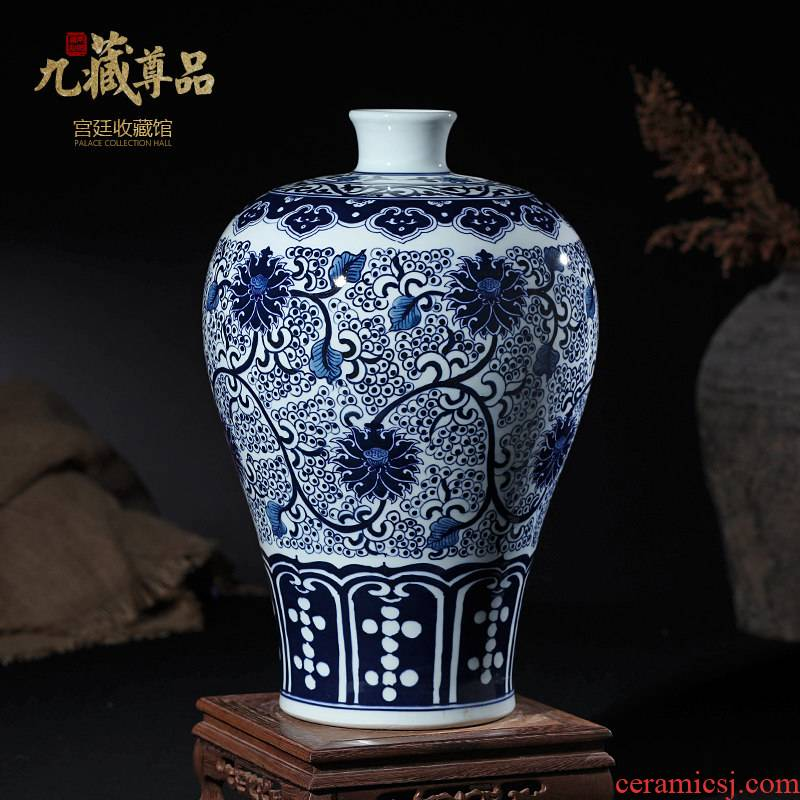 Jingdezhen ceramics vase study office furnishing articles model between blue and white porcelain handicraft decoration classical Ming and the qing dynasties