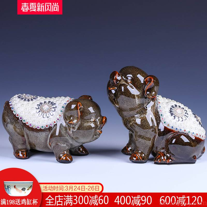Jingdezhen ceramic of the feng shui plutus furnishing articles rich ancient frame, lovely creative decoration large living room