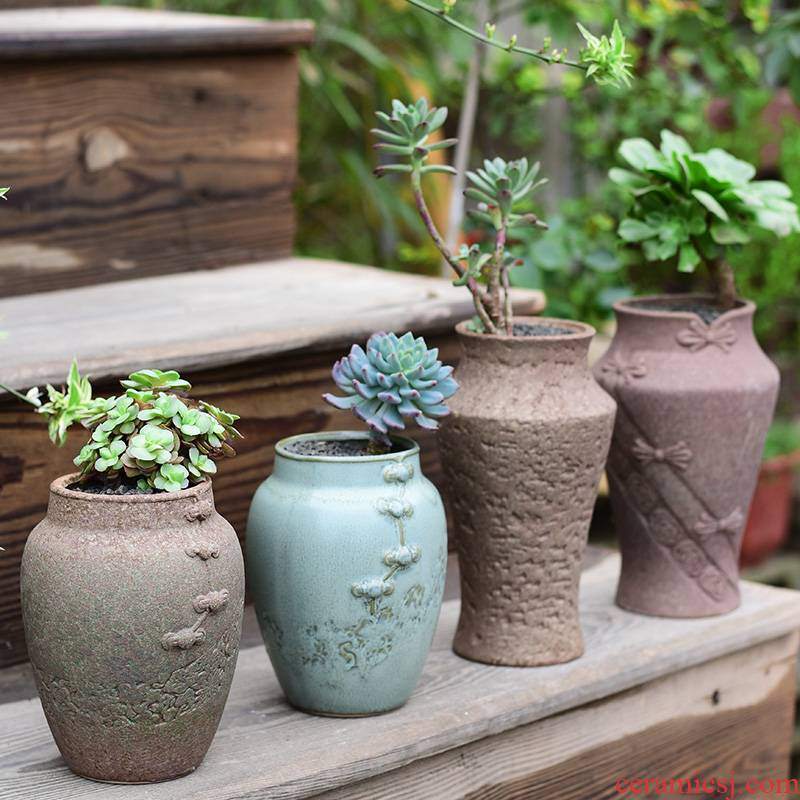 Meaty plant pot large ceramic clearance coarse pottery breathable creative POTS household retro mage old running the basin