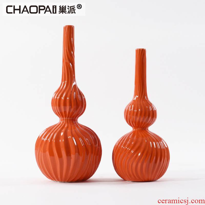 New Chinese style manual small incision porcelain vase furnishing articles furnishing articles gourd ceramic pot rich ancient frame TV wine orange