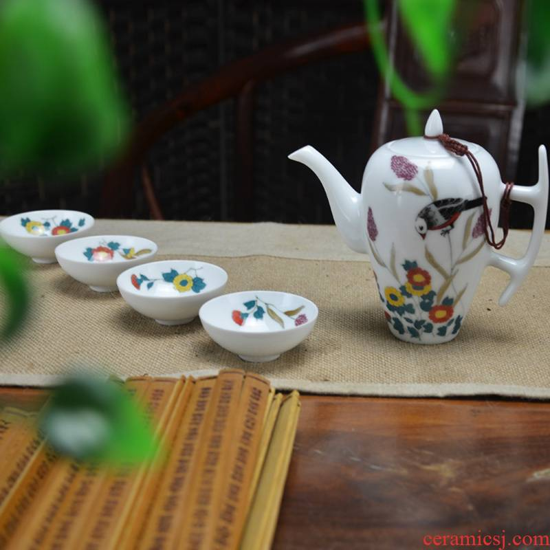 Ceramic kung fu tea set under the glaze color hand - made tea ware gift set 4 large teapot cup office and practical