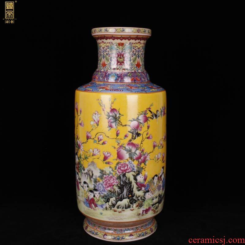 Jingdezhen imitation enamel qianlong years antique vase enamel baby play auspicious wooden stick Chinese antique porcelain bottle furnishing articles