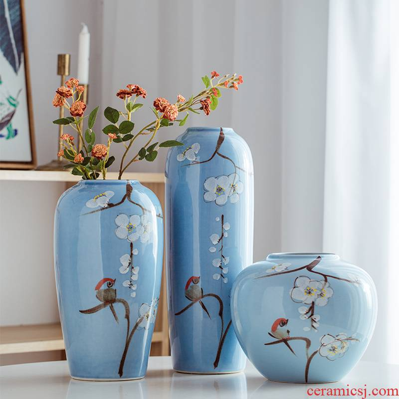 Jingdezhen ceramic vase furnishing articles of Chinese style hall, dry flower, flower arranging bottles creative Chinese wind desktop porch decoration