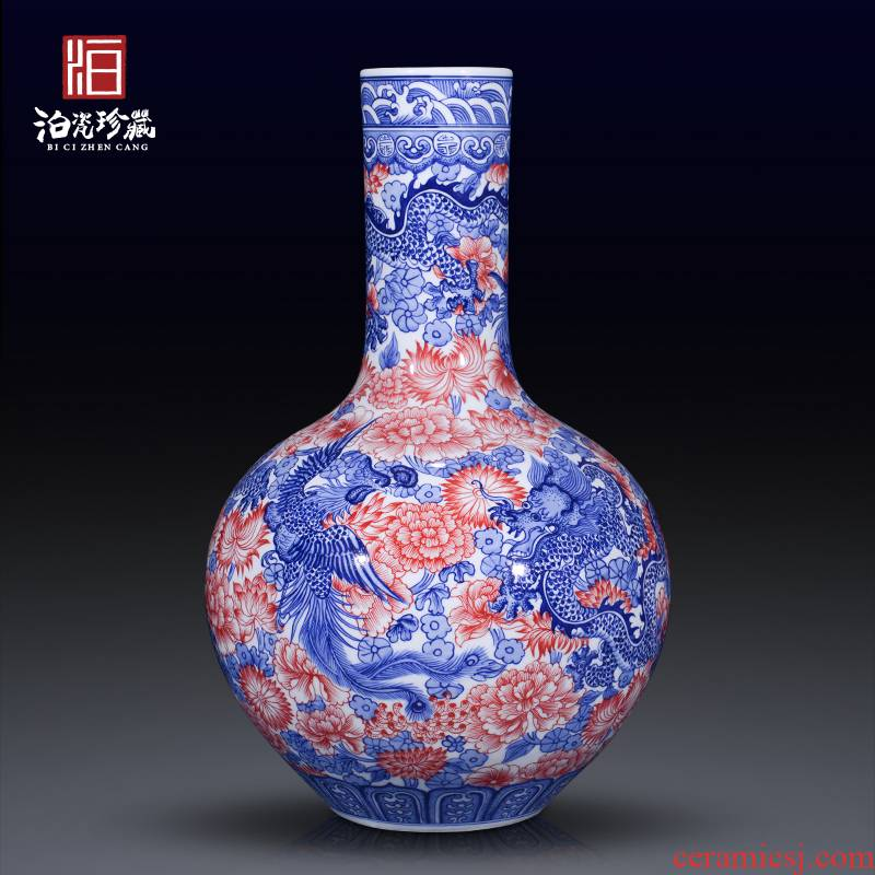Jingdezhen ceramics imitation the qing qianlong blue - and - white longfeng celestial large vases, Chinese style living room home furnishing articles