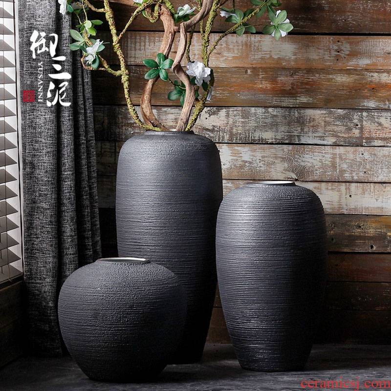 Jingdezhen ceramic vases, I and contracted landing pure black Scandinavian minimalist home decoration flower arranging produce flowers