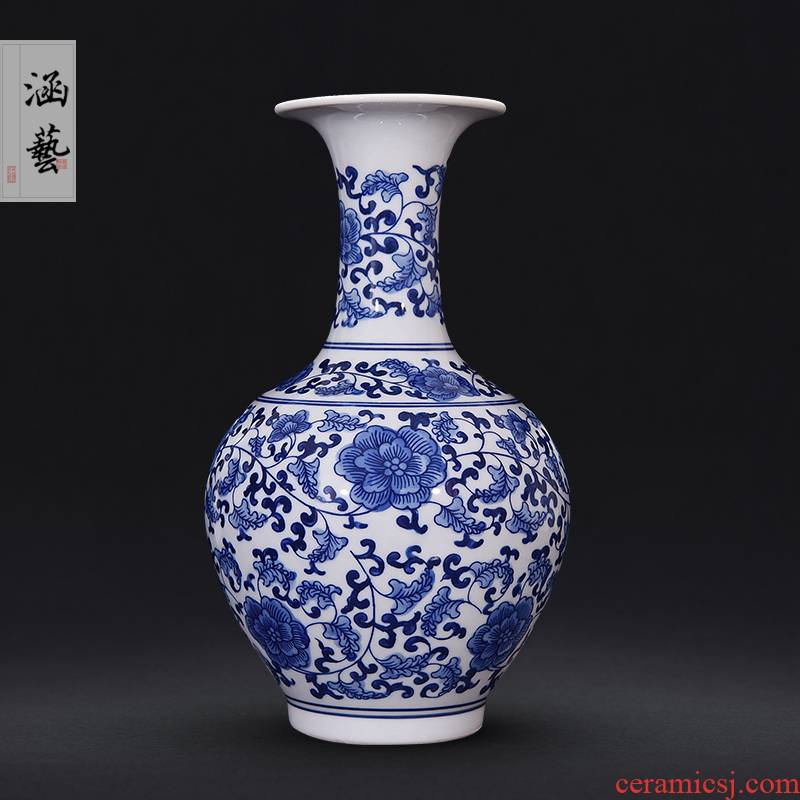 Jingdezhen ceramics classic blue and white porcelain vases, flower arrangement sitting room of Chinese style household adornment handicraft furnishing articles