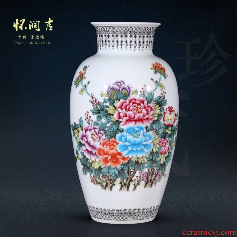 Jingdezhen ceramics blooming flowers vase furnishing articles of Chinese style living room porch home decoration flower arrangement craft