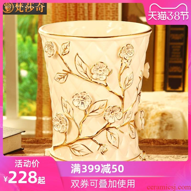 Vatican Sally 's key-2 luxury European - style trash can creative home sitting room of large - sized ceramic bin bedroom study toilet