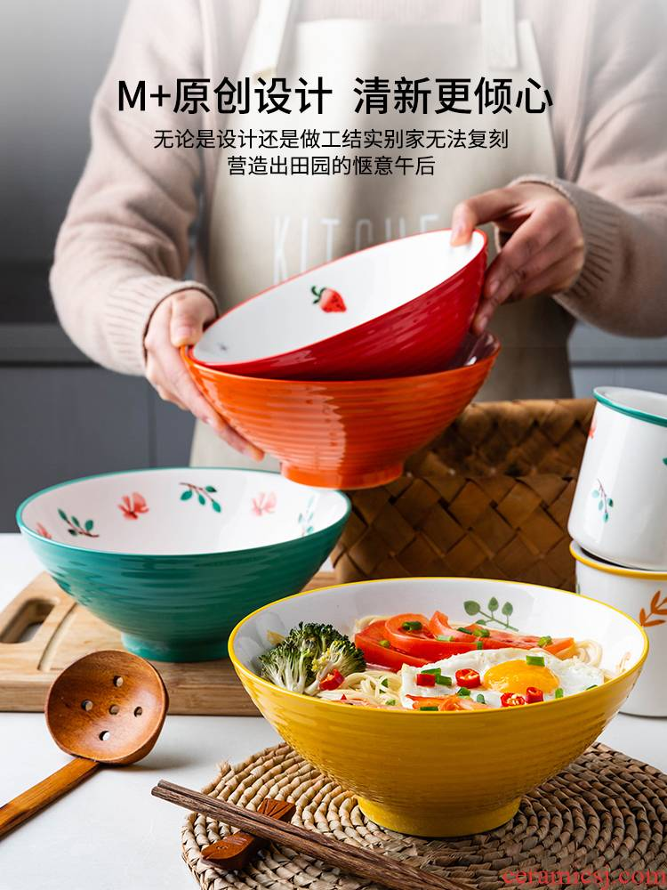 Modern housewives what flower rhyme mercifully rainbow such to use domestic large - sized ceramic pull noodles soup bowl bowl hat to bowl of salad bowl