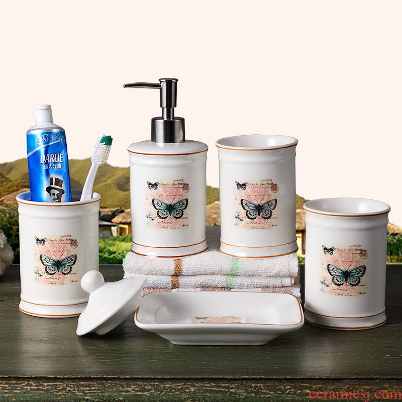Creative American pastoral wash gargle suit ceramic dental composites YaGang cup toothbrush cup Europe type toilet bathroom articles for use