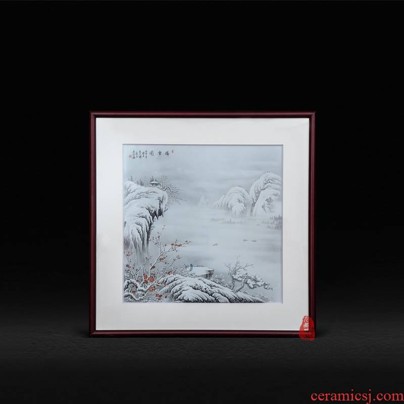 Jingdezhen ceramics Zhou Xiaohui hand - made snow adornment picture porcelain plate mural paintings of Chinese style living room furnishing articles
