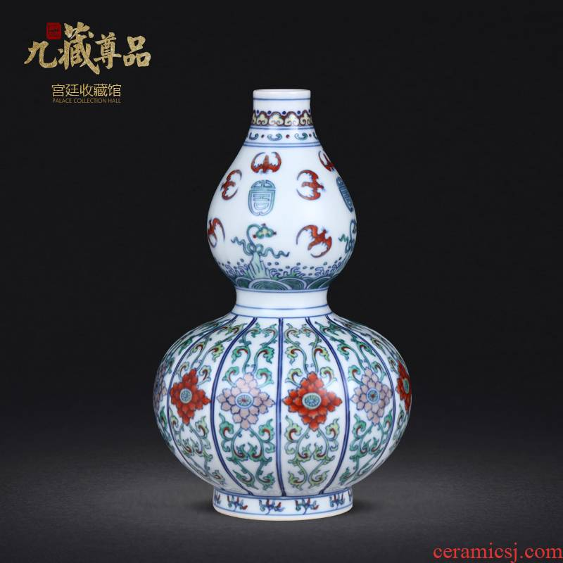 Jingdezhen blue and white color bucket live bat grain vase furnishing articles archaize ceramic porcelain Jingdezhen pure manual