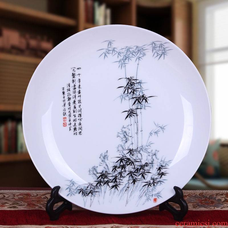 Jingdezhen ceramic hang dish sit the modern European TV setting wall decoration plate sitting room place, blue and white porcelain ornaments