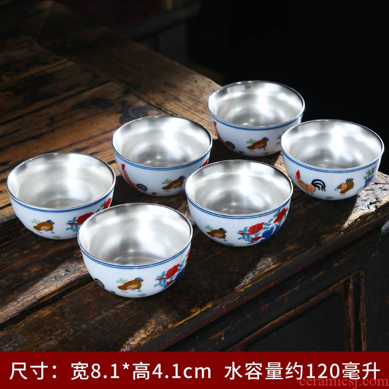 Ming chenghua bucket color ceramic cups chicken cylinder cup of jingdezhen porcelain kung fu tea bowl household single sample tea cup