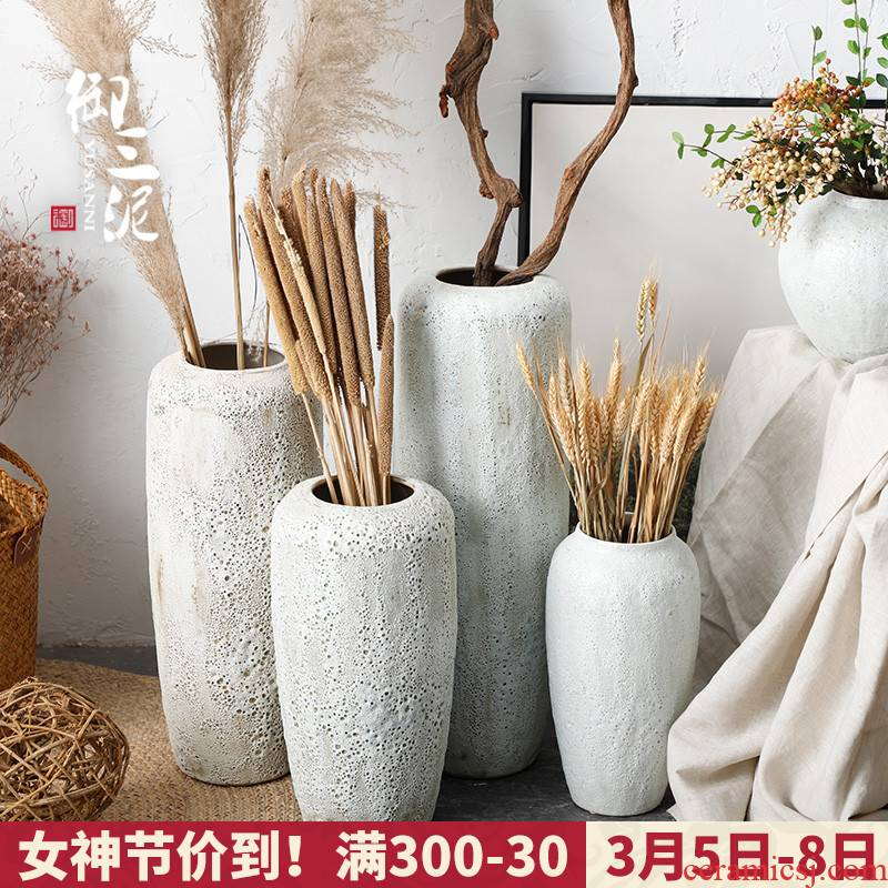 Dried flowers flower arrangement sitting room adornment I and contracted white creative home vase Nordic furnishing articles coarse pottery restoring ancient ways
