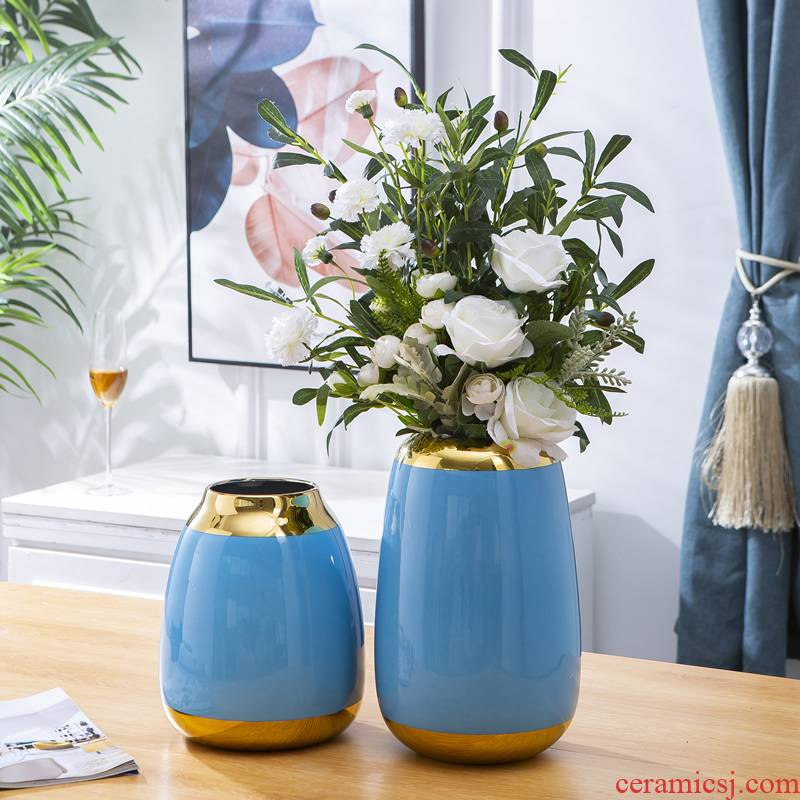 Light key-2 luxury ceramic vases, new Chinese style household example room table ou the sitting room porch flower arranging dried flower adornment furnishing articles