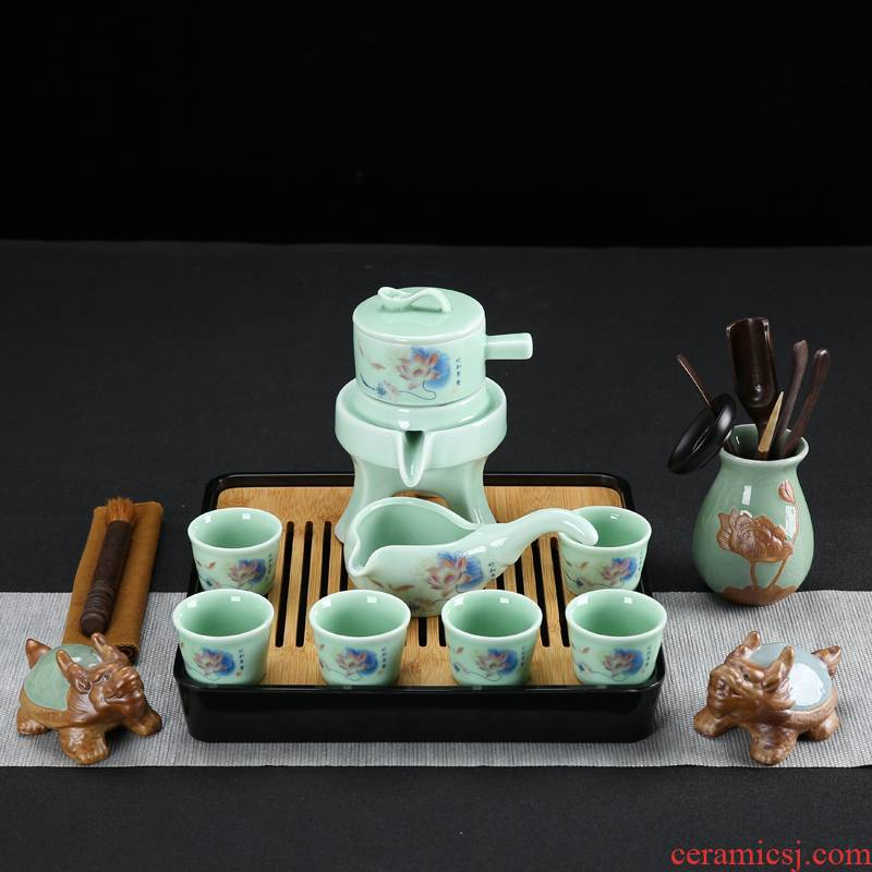 Celadon kung fu tea set automatically suit household purple sand pottery and porcelain tea sea solid wood tea tray tea taking of a complete set of accessories tea tray