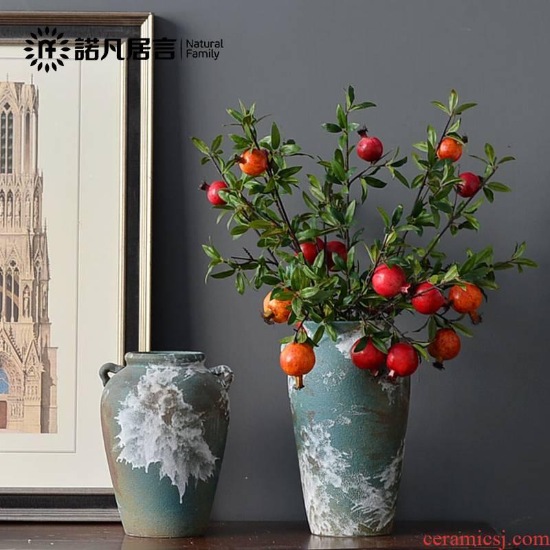 Mesa of jingdezhen ceramic vase Nordic sitting room flower arranging furnishing articles retro nostalgia rust coarse pottery decoration decoration