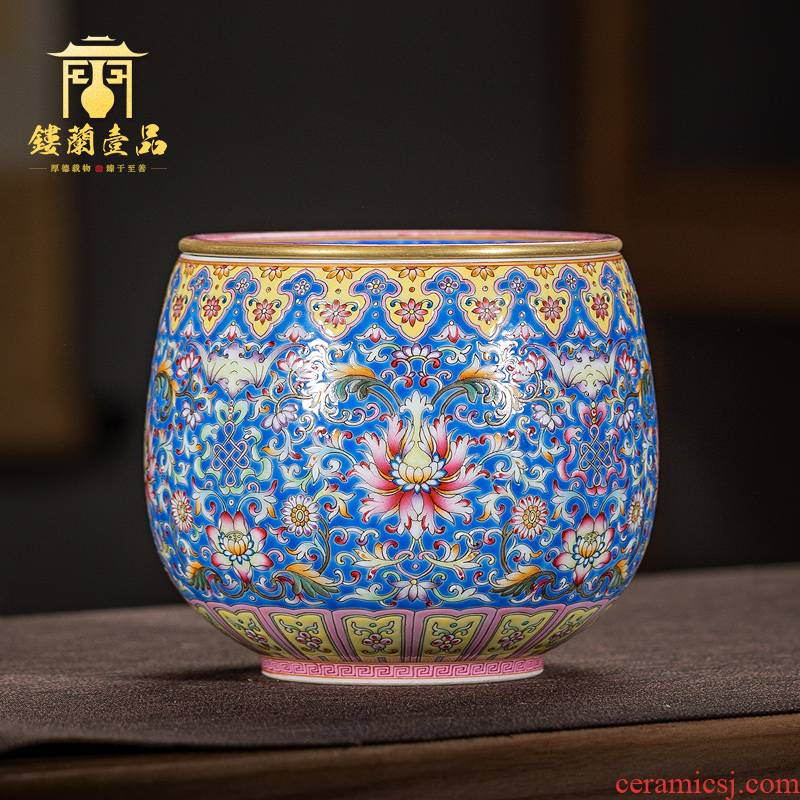 Jingdezhen ceramic hand - made to pastel blue tie up dry lotus flower tea in hot water to wash the machine water jar kung fu tea accessories