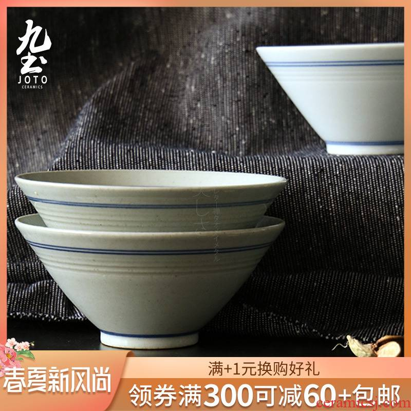 Blue and white double nine soil ceramic bowl hat to bowl of Japanese zen creative gifts of manual coloured drawing or pattern tableware feed implement their jobs