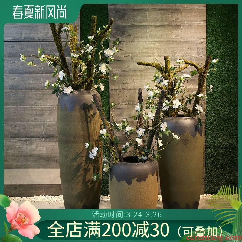 Jingdezhen coarse pottery vase of large hotel restaurant ceramic flower implement club show big sitting room restoring ancient ways furnishing articles