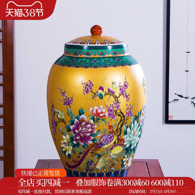 Aj241 jingdezhen ceramics from merry birds pay homage to the king, the general pot of flowers and birds barrel, the adornment that occupy the home furnishing articles