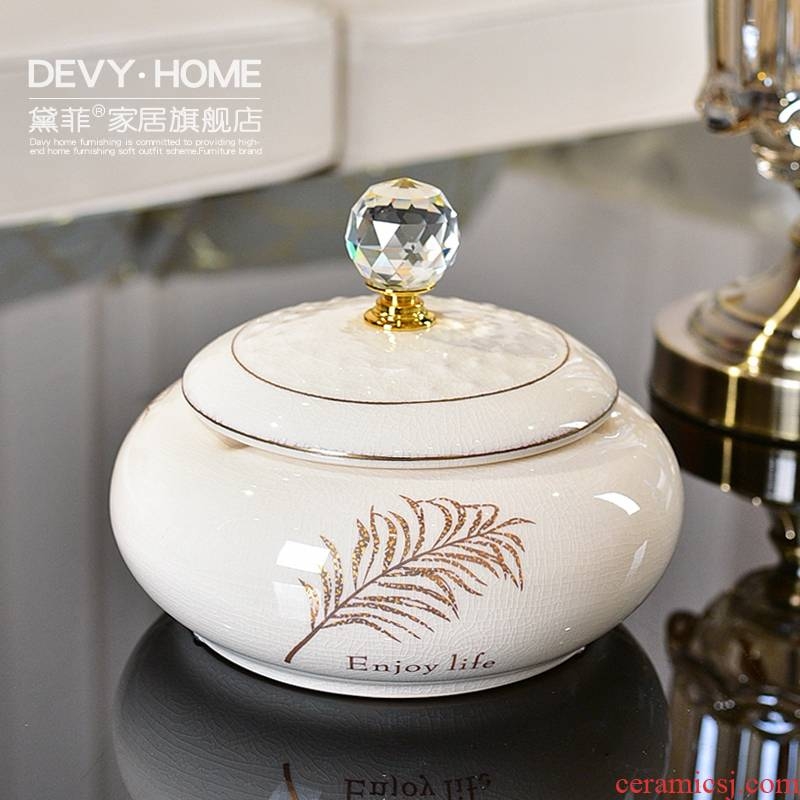 European style living room creative furnishing articles household ceramics with cover the ashtray office receive household soft adornment tea table