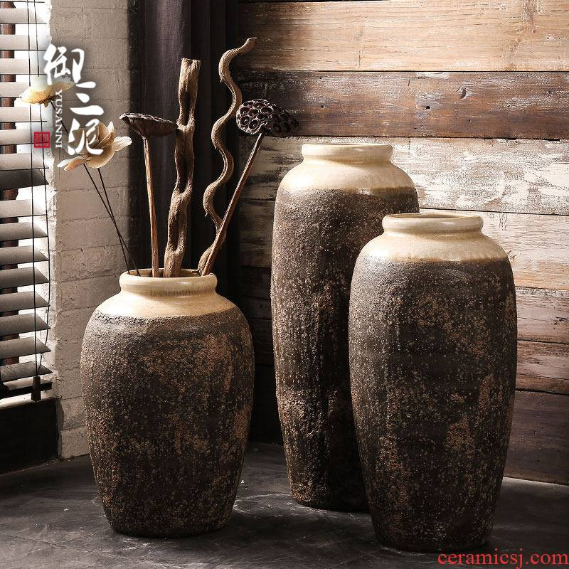 Jingdezhen ceramic vase manual landing restoring ancient ways coarse some ceramic pot dry flower, flower implement sitting room big flowerpot flower arranging furnishing articles