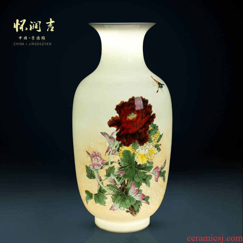 Jingdezhen modern technology hand - made of hand - made vase blooming flowers Chinese claborate - style painting vase sitting room art furnishing articles