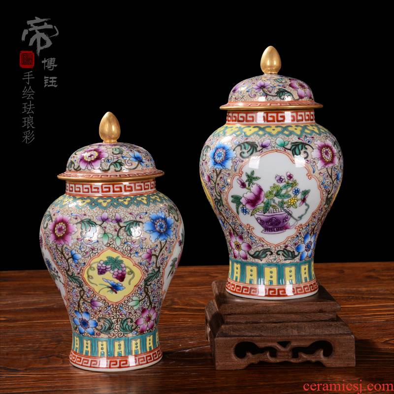 Jingdezhen ceramic vases, flower implement furnishing articles of high - grade checking antique general colored enamel pot cover home decoration