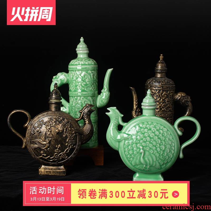 An empty bottle archaize of jingdezhen ceramic 1 catty ancientry creative Chinese style with little hip household seal wine bottles