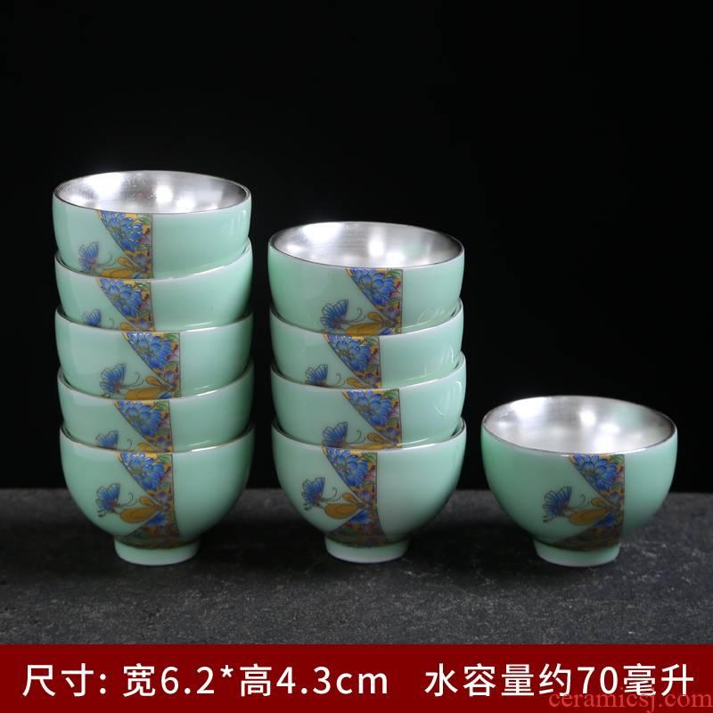Longquan celadon single CPU kung fu tea set household contracted and I tea cup teapot jingdezhen tea art is the living room
