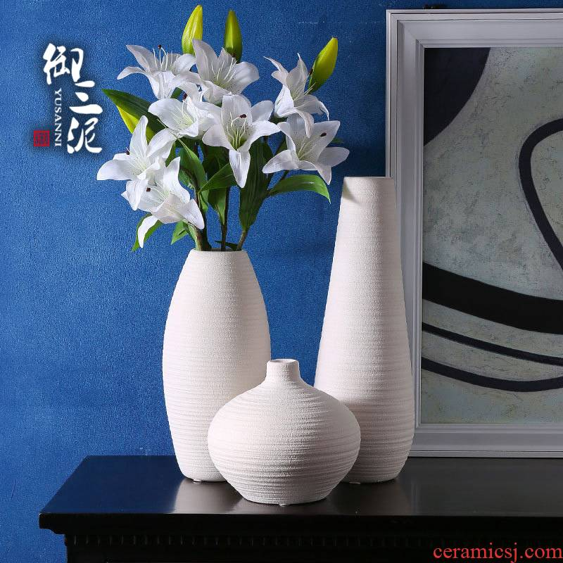 American white dry ceramic vases, small pure and fresh and contracted and I white flower arranging home sitting room ceramic furnishing articles