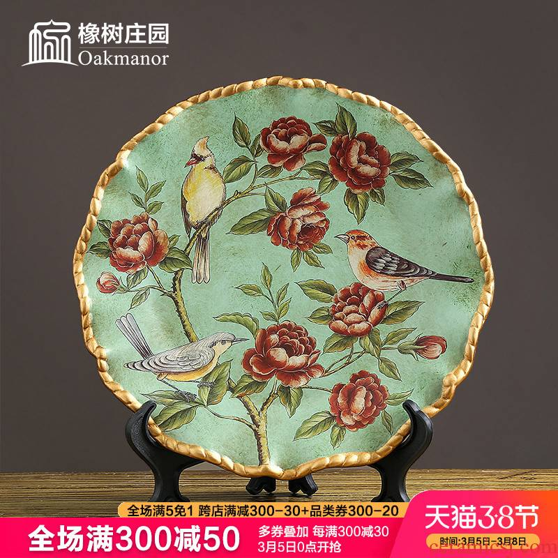 American ceramic decoration hanging dish plate disc furnishing articles European household act the role ofing is tasted plate frame art porcelain stents