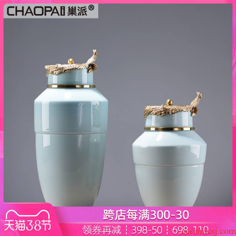 New Chinese style ceramic blue storage tank furnishing articles contracted club hotel decoration modern teahouse tea soft decoration