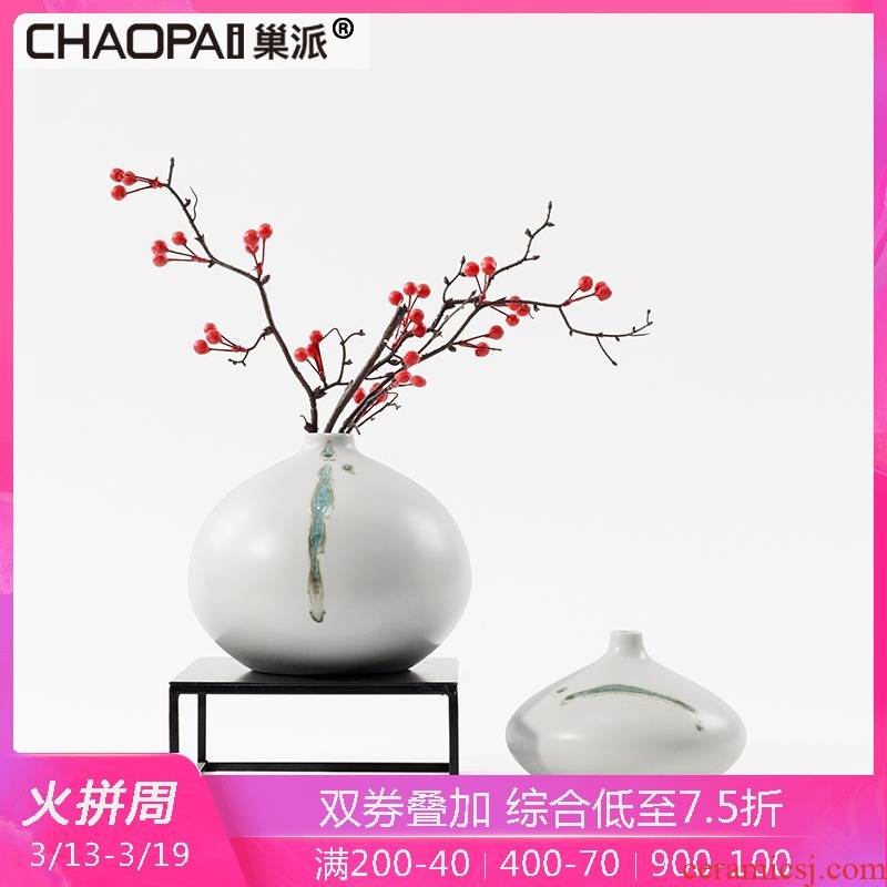 New Chinese style fine expressions using flower arranging ceramic vase decoration teahouse tea table desktop sitting room porch white flowers, furnishing articles