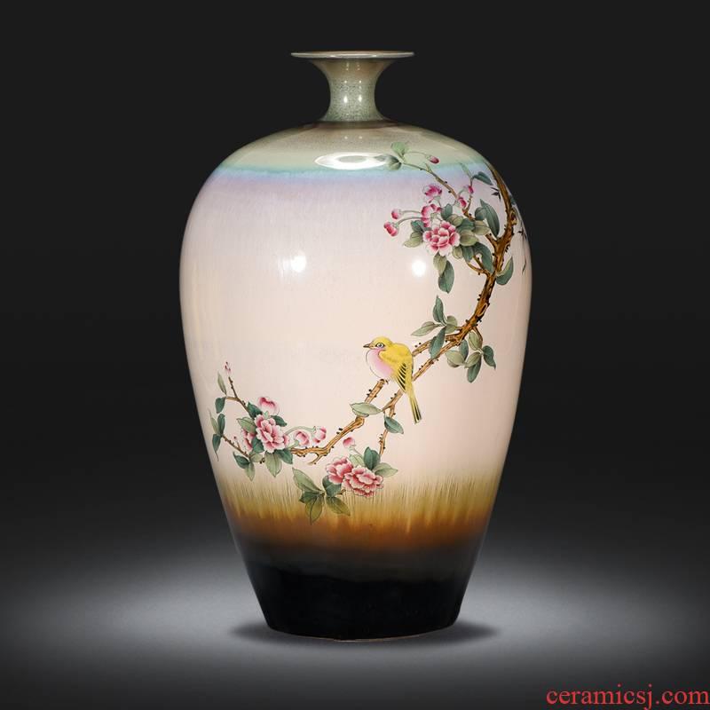 Famous master of jingdezhen ceramics hand - made vases handicraft furnishing articles TV cabinet office decoration