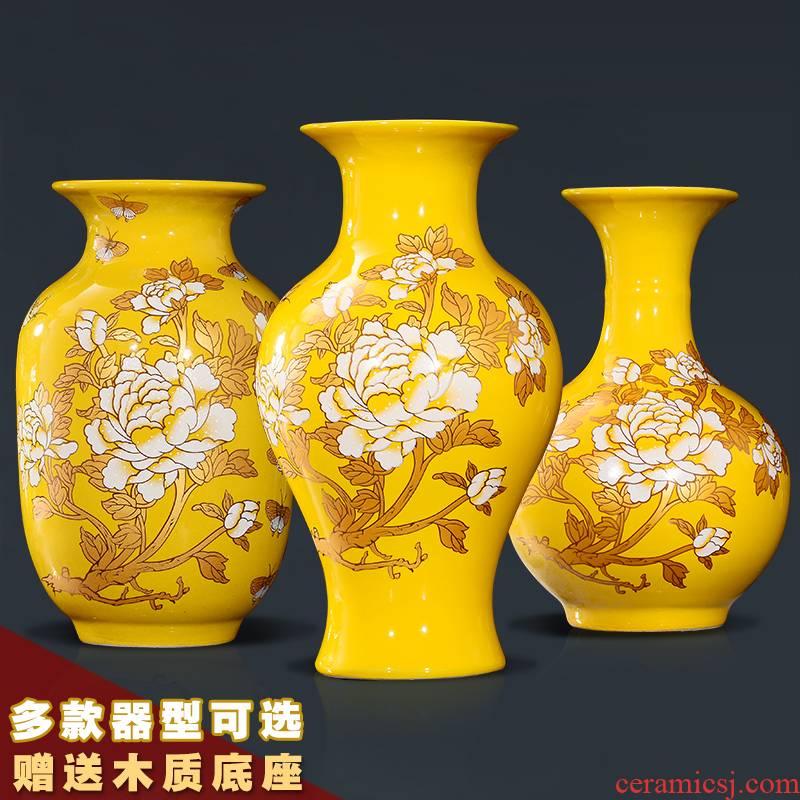 Jingdezhen ceramic floret bottle sitting room study furnishing articles of TV ark, wine flower arranging rich ancient frame handicraft ornament