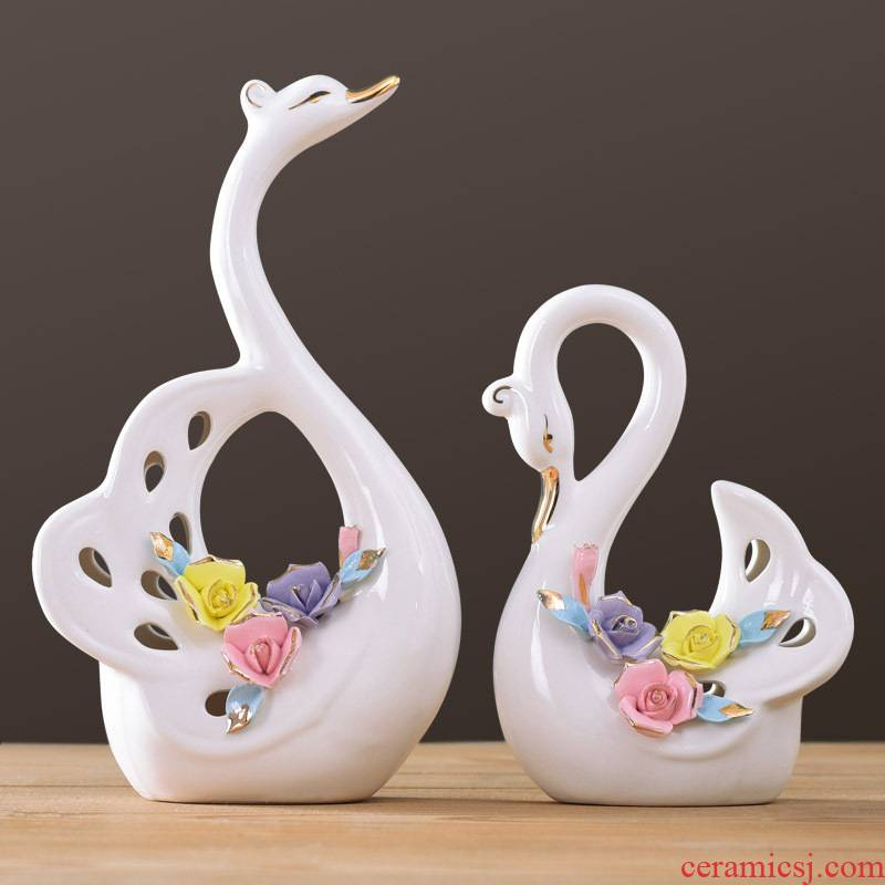 European new home furnishing articles wedding present household act the role ofing is tasted creative living room TV cabinet furnishing articles ceramic fuels the swan