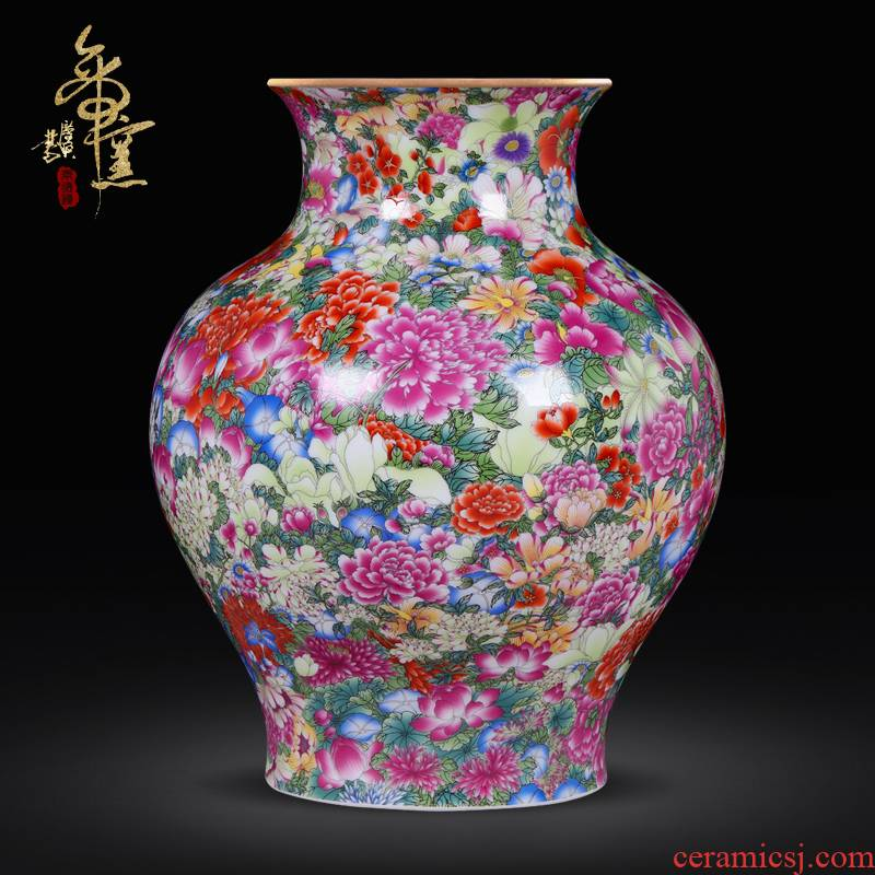 Archaize of jingdezhen ceramics craft vase collection furnishing articles qianlong high - grade colored enamel paint flower vase