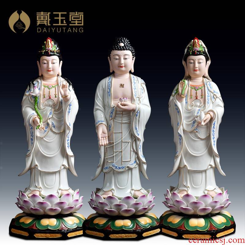 Yutang dai ceramic west three holy gods holy Buddha enshrined furnishing articles/23 inches color paint western three holy