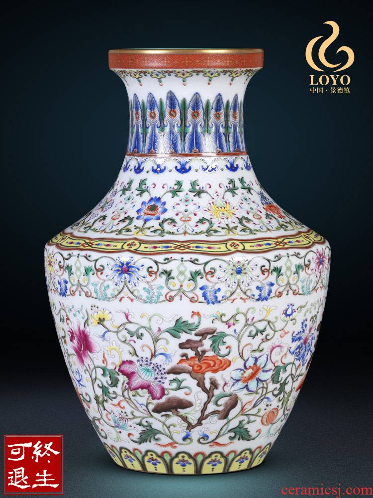 Jingdezhen ceramics antique porcelain dou colors lotus flower dish vases, Chinese ancient frame sitting room adornment