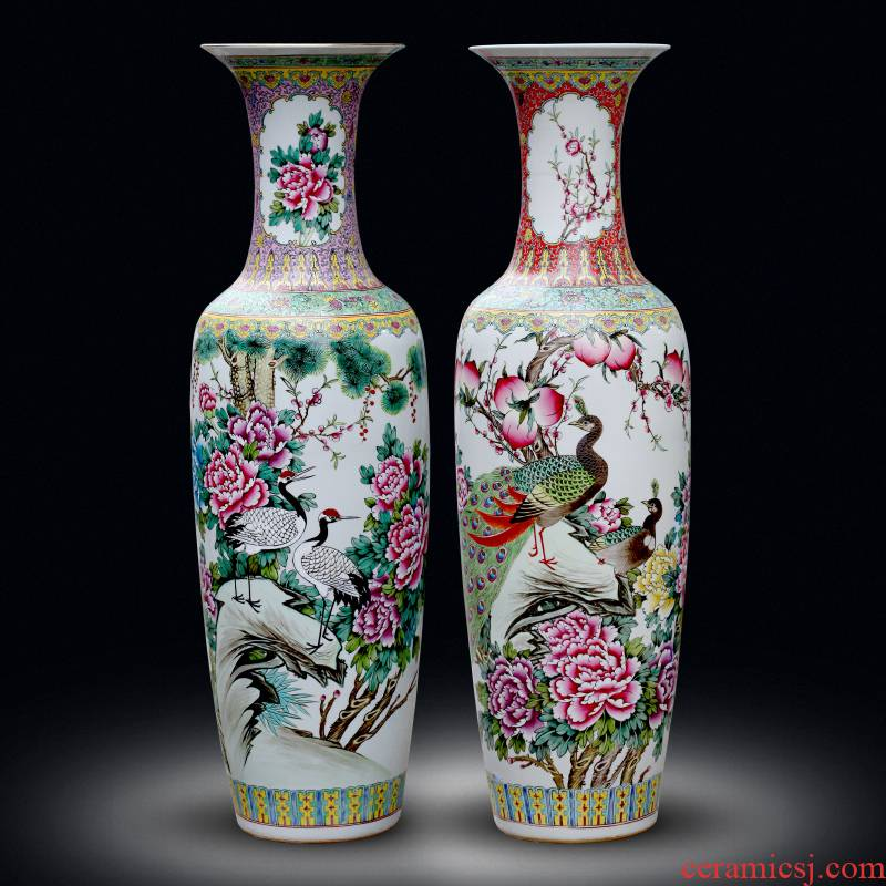 Jingdezhen ceramic vase big sitting room ground large adornment furnishing articles study porch antique porcelain hotel