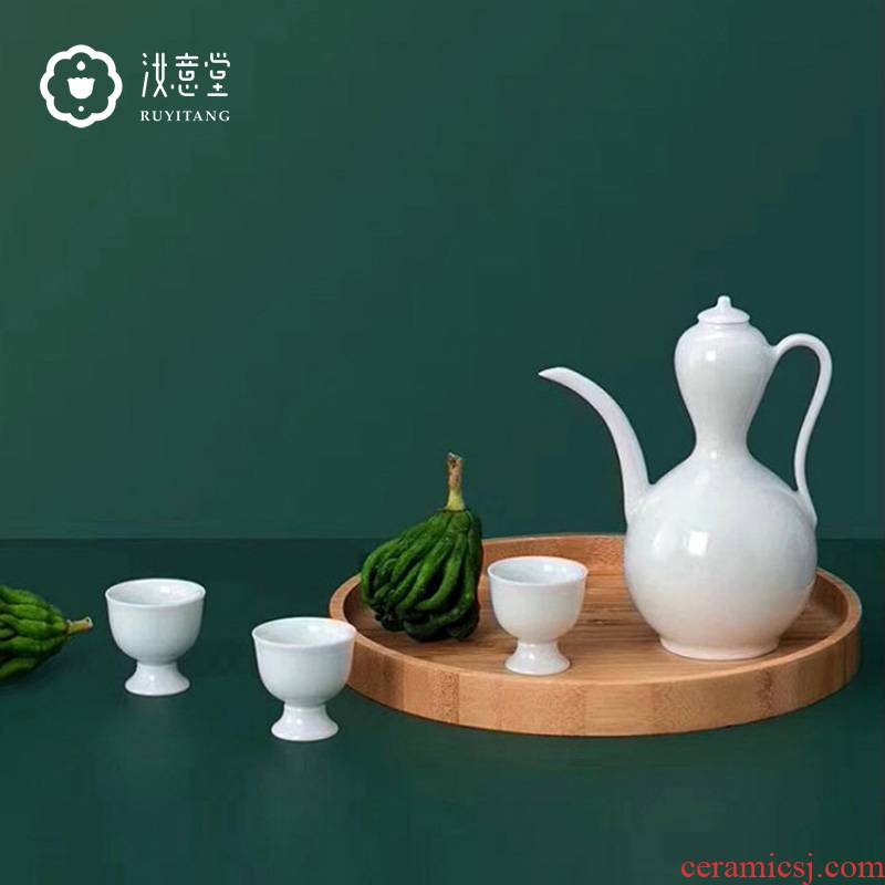 Jingdezhen ceramics by hand wine jar of wine BeiYing celadon 2020 year of the rat Spring Festival gift set gift box in the New year