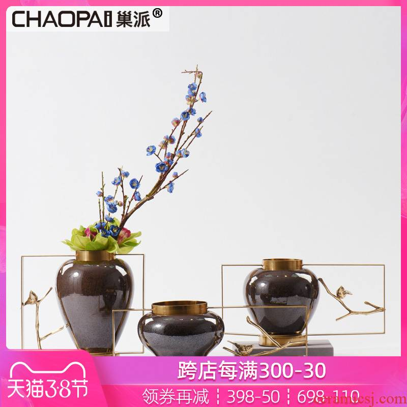 New classical light key-2 luxury ceramic vase simulation flower, flower implement hotel villa model room porch soft decoration