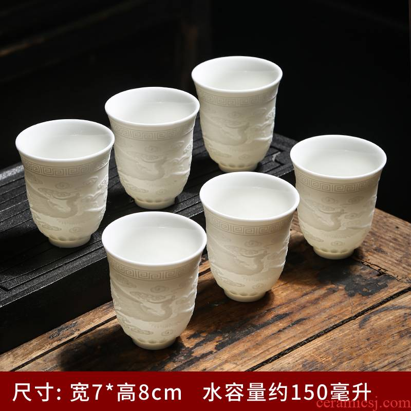Suet jade cup single CPU manual master cup ceramic sample tea cup household glass cups kung fu tea cups