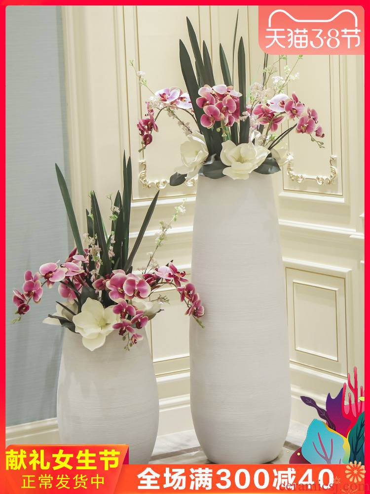 Jingdezhen I and contracted white ceramic Nordic sitting room of large vase flower arranging hotel decoration furnishing articles