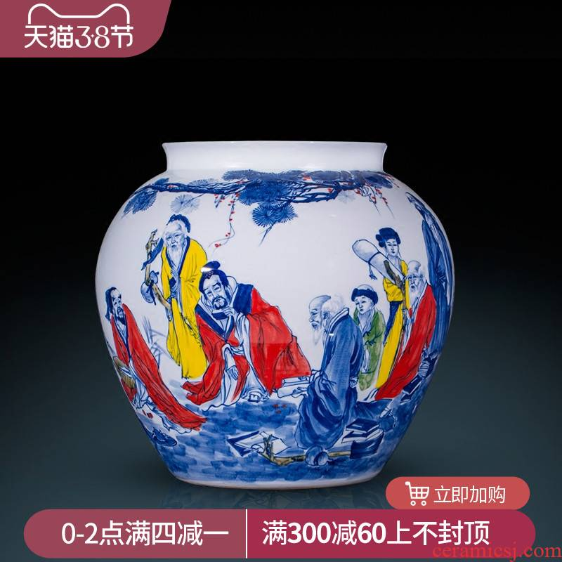 Jingdezhen ceramics hand - made large blue and white porcelain vase sitting room, study the word calligraphy and painting cylinder identifiers decorative furnishing articles