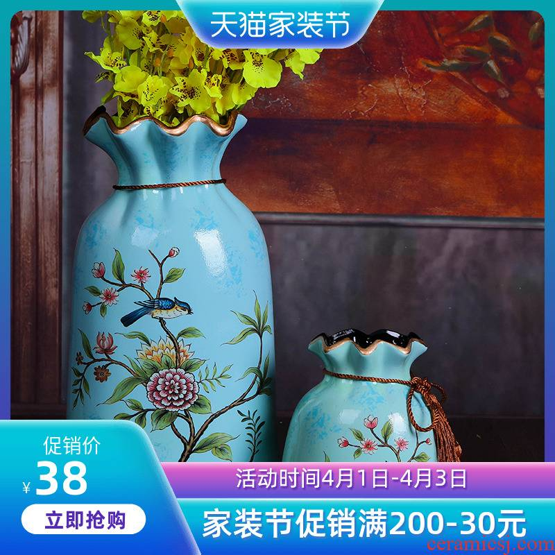 Jingdezhen ceramic flower arranging furnishing articles floral American household act the role ofing is tasted retro flower arranging decorative dried flowers, TV ark